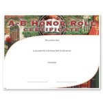 A-B Honor Roll Fill in the Blank Certificates