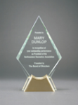 Diamond Glass with  Gold Metal Base Sales Awards